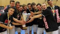 """BK """"Dolāri"""" nosargā """"Triobet"""" Basketbola līgas čempionu titulu"""