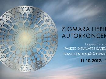 """Zigmara Liepiņa autorkoncertā 11. oktobrī skanēs """"Transcendentālā oratorija"""" un fragmenti no """"Parīzes Dievmātes katedrāles"""""""