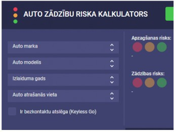 Atjauno virtuālo auto zādzību risku kalkulatoru