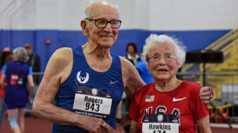 Orvels Rodžerss un Džūlija Haukinsa Foto: ASV Vieglatlētikas federācija