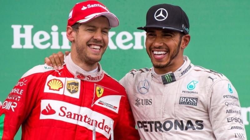Sebastians Fetels un Lūiss Hamiltons. Foto: Scuderia Ferrari