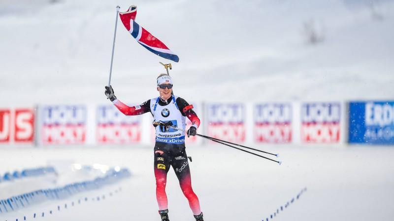 Juhanness Tinness Bē svin Norvēģijas uzvaru stafetē. Foto: imago images/Scanpix