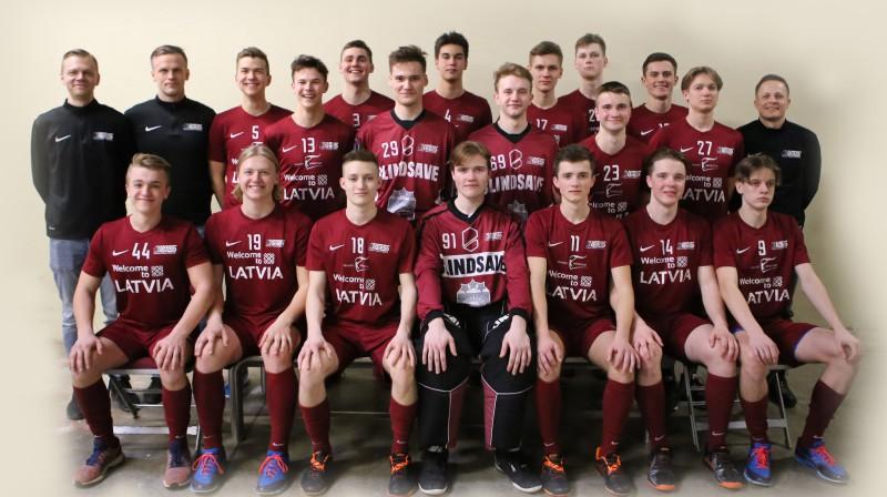 Latvijas U19 vīriešu izlase. Foto: Ritvars Raits, floorball.lv