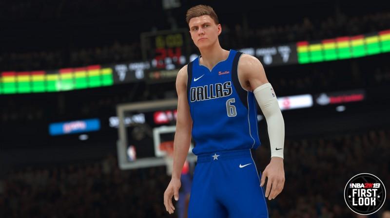 """Virtuālais Kristaps Porziņģis Dalasas """"Mavericks"""" formā. Foto: NBA 2K"""