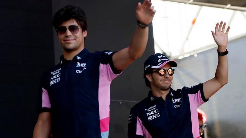 Lānss Strols un Serhio Peress. Foto: SportPesa Racing Point F1 Team