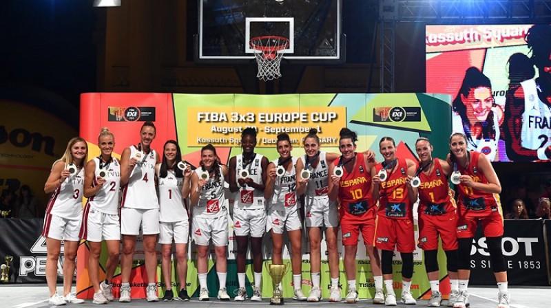 Latvijas 3x3 basketbolistes 1. septembrī izcīnīja bronzas medaļu Eiropas čempionātā Debrecenā. Foto: FIBA