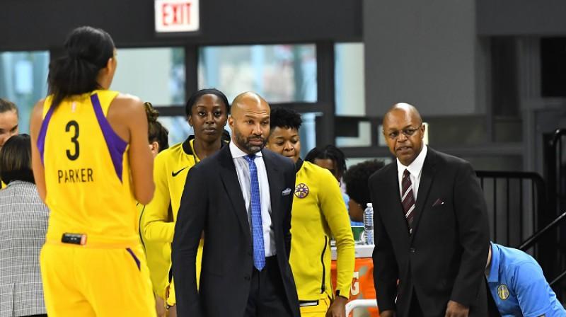 """Dereks Fišers un """"Sparks"""": komanda spēlēs WNBA pusfinālā. Foto: Zumapress/Scanpix"""
