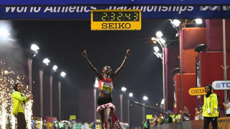 Ruta Čepngetiha finišā. Foto: Reuters/Scanpix