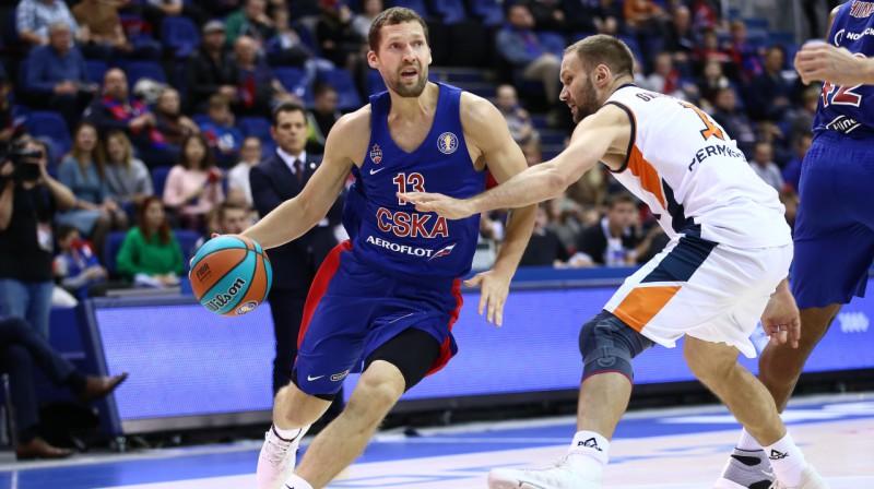 Jānis Strēlnieks CSKA rindās. Foto: VTB League