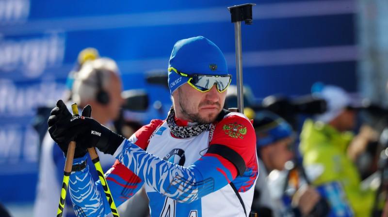 Aleksandrs Loginovs sestdien pasaules čempionāta stafetes sacensībās. Foto: Reuters/Scanpix