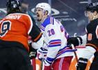 """Kraidera """"hat-trick"""" Filadelfijā neglābj """"Rangers"""", krievu vārtsargiem <i>sausās</i> spēles"""