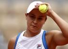 """WTA ranga līdere Bārtija savainojuma dēļ izstājas no """"French Open"""""""