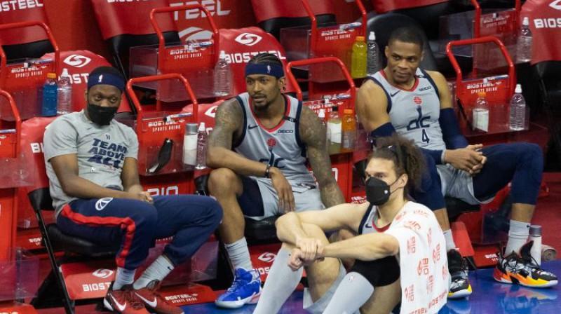 """Wizards"" spēlētāji. Foto: USA TODAY Sports/Scanpix"