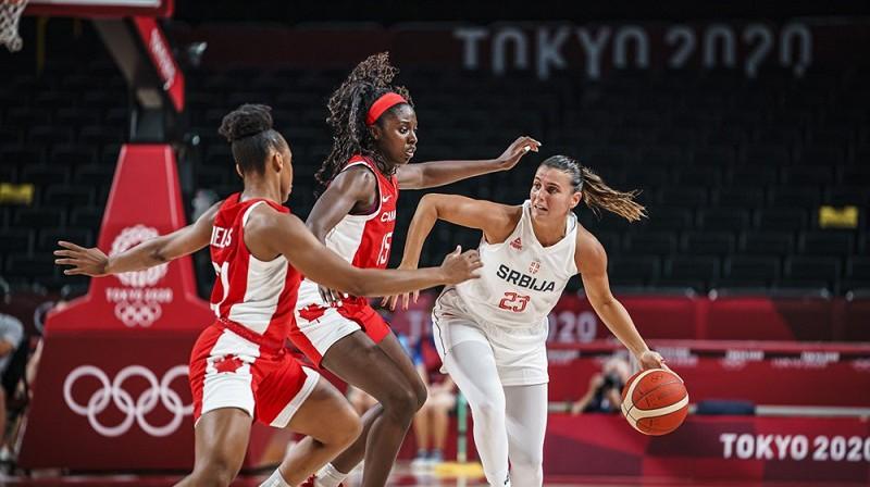Ana Daboviča spēlē pret Kanādu. Foto: FIBA