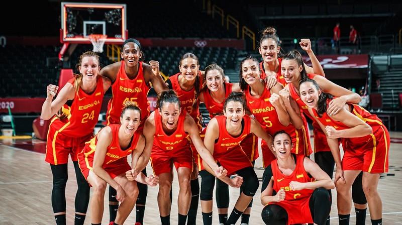 Spānijas basketbolistes: pirmā uzvara Tokijā. Foto: FIBA