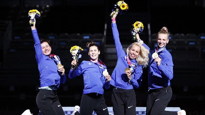 Jūlija Beļajeva, Irina Embriha, Erika Kirpū, Katrīna Lehisa 2021. gada 27. jūlijā Tokijā. Foto: EPA/Scanpix