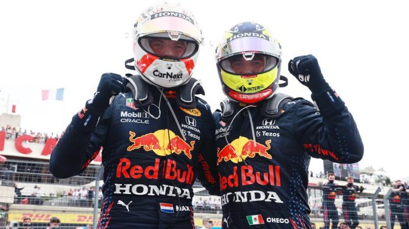 Makss Verstapens un Serhio Peress. Foto: Red Bull Racing