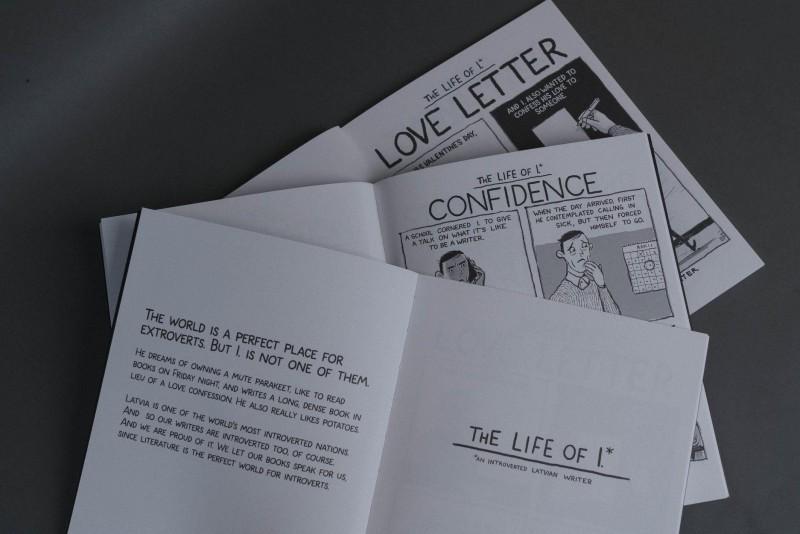 """Iznākusi komiksu grāmata par introverto latviešu rakstnieku """"Life of I."""""""